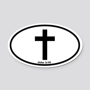 Cross Oval Oval Car Magnet